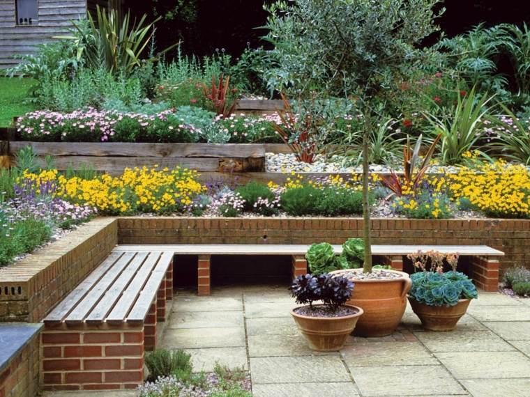 jardin diseno flores macetas banco ideas