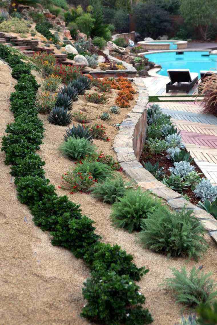 jardin diseno piscina tumbonas ideas