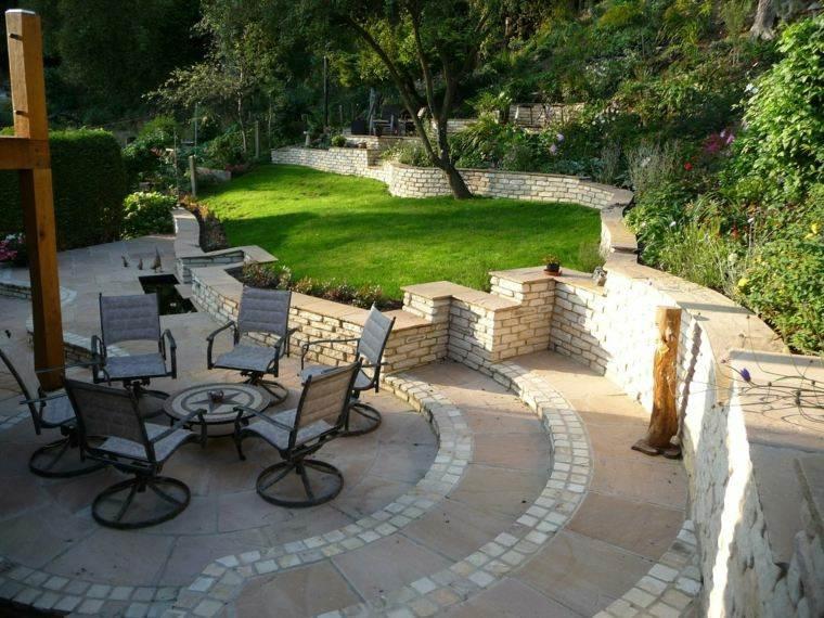 jardin diseno sillas preciosas cesped ideas