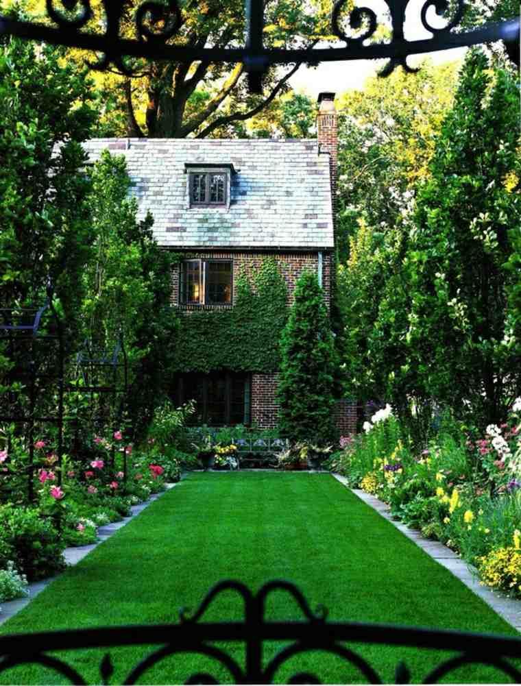 jardin pequeno diseno simple cesped ideas