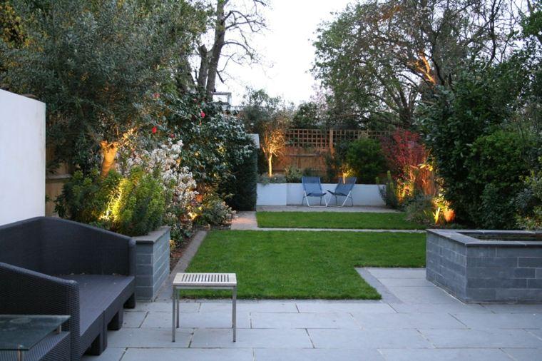 jardin pequeno diseno suelo losas cesped ideas