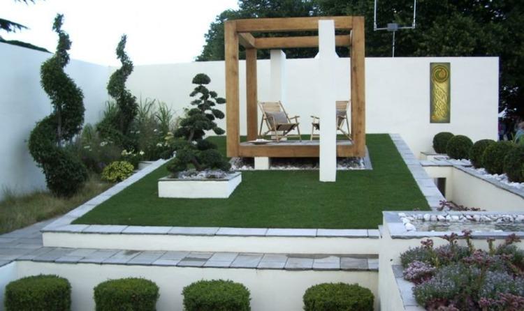 jardín pérgola madera moderna