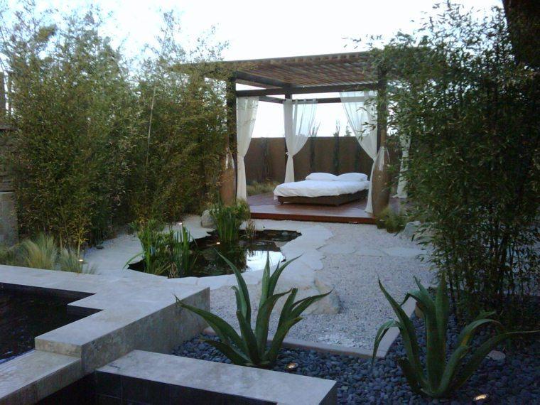 jardin zen opciones decoracion diseno cama pergola ideas