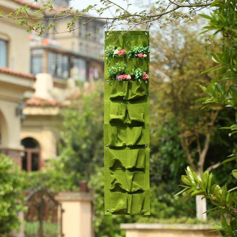 jardinera vertical colgante verde