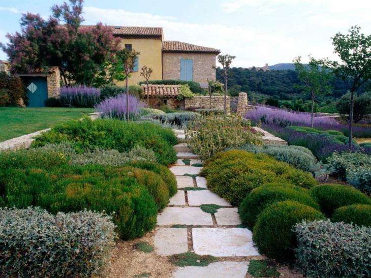 jardines diseño mediterraneo senderos plantas mesas