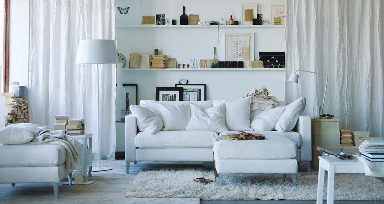 lampara pie blanco sofa sillon estantes ideas