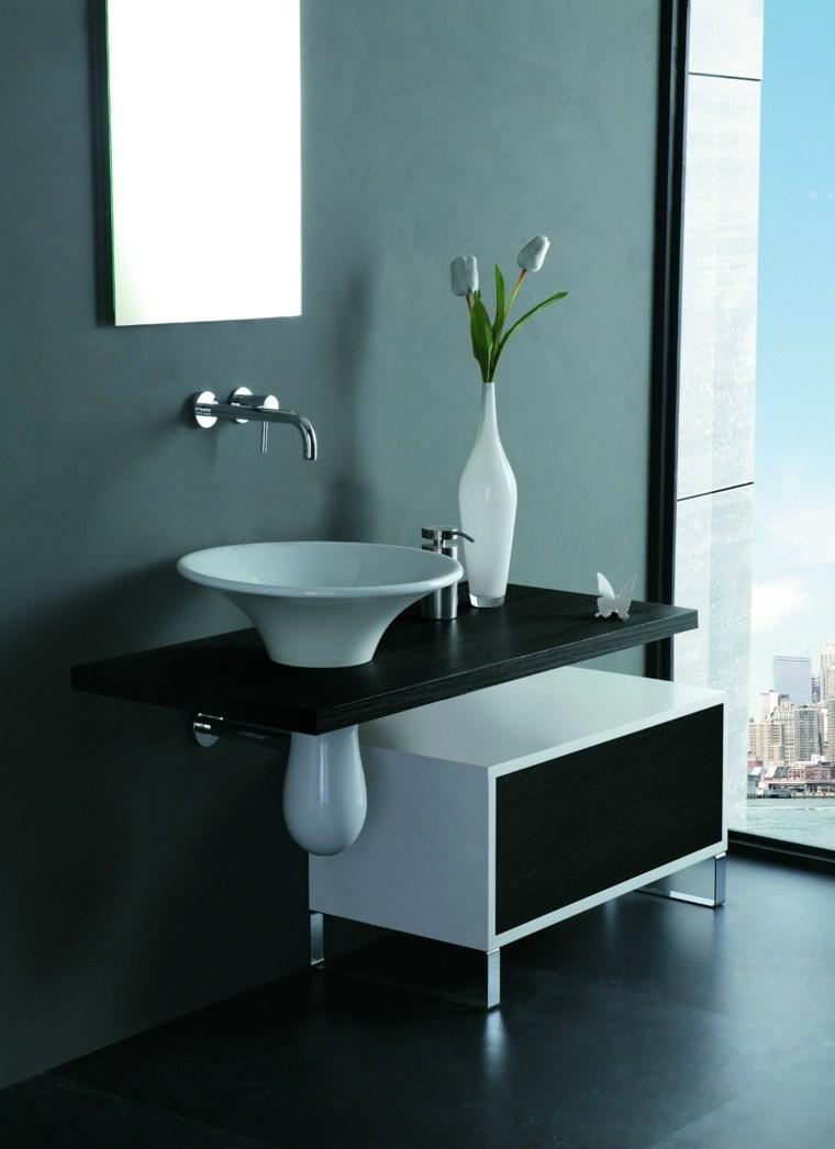 lavabo blanco encimera madera negra ideas