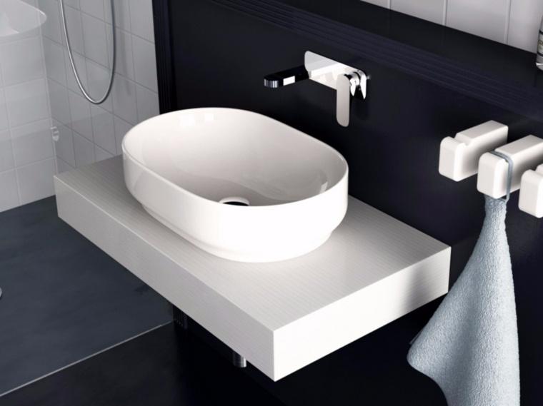 lavabo blanco forma ovalada opciones colgar toallas ideas