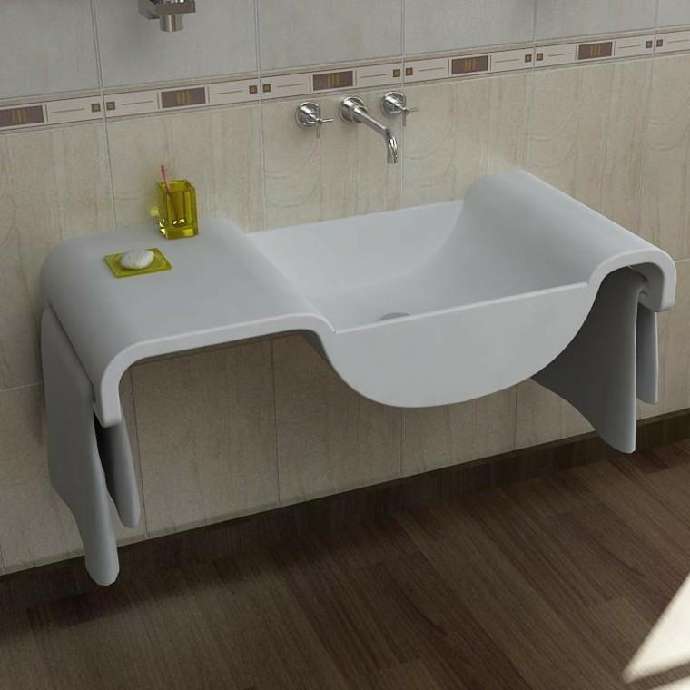 lavabo blanco ondulado moderno bano ideas