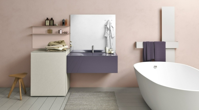 lavabo color purpura precioso banera bano amplio ideas