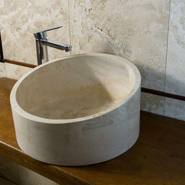 lavabo moderno travertino forma redonda ideas