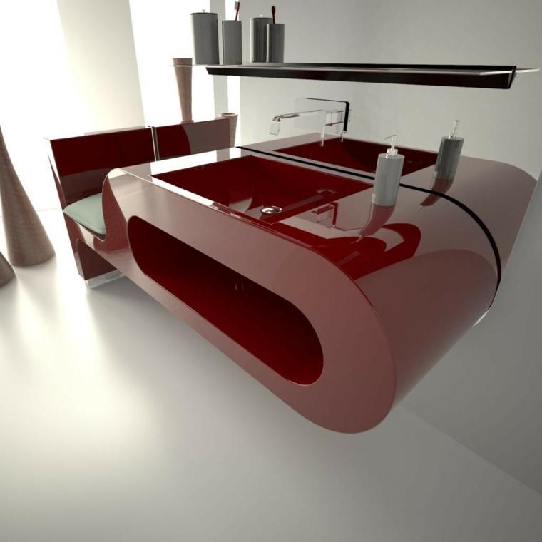 lavabo rojo suspendido pared ideas