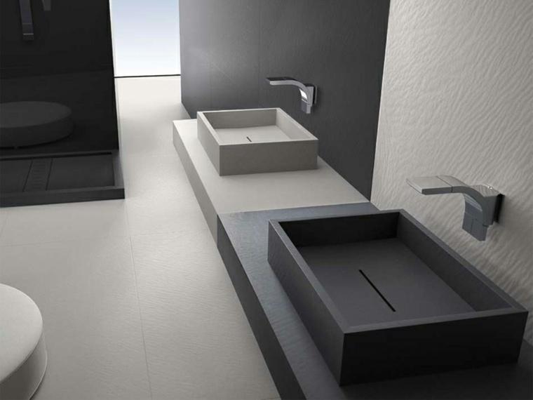 lavabo moderno blanco negro combinacion ideas