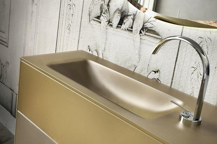 lavabos modernos color amarillo espejo ideas