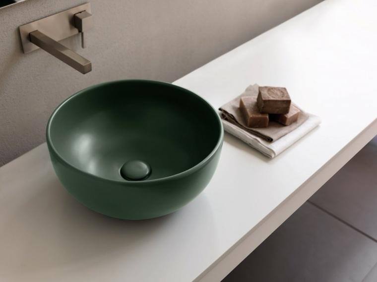 lavabos modernos color verde forma ovalada ideas
