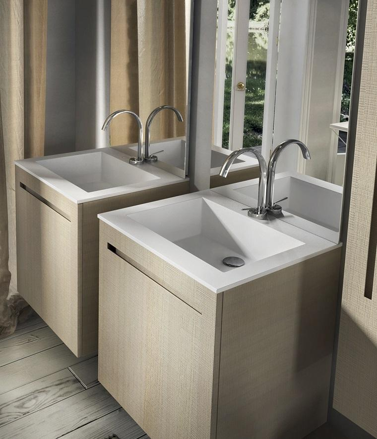 lavabos modernos dos madera espejo grande bano ideas