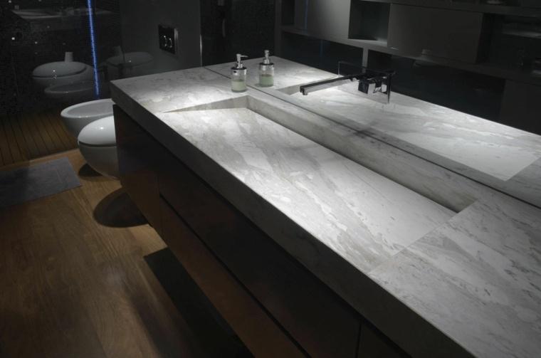 lavabos modernos encimera marmol bano oscuro ideas