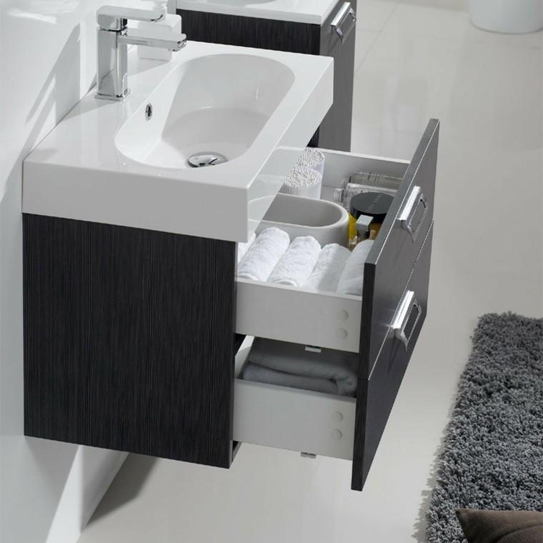 lavabo con cajones en el baño moderno