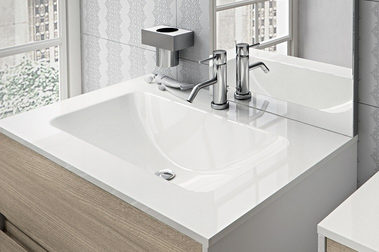 lavabos modernos espejo madera blanco ideas
