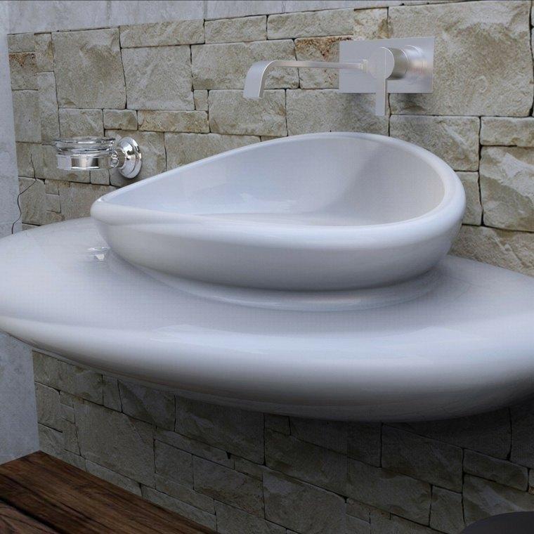 lavabos modernos pared piedra bano ideas