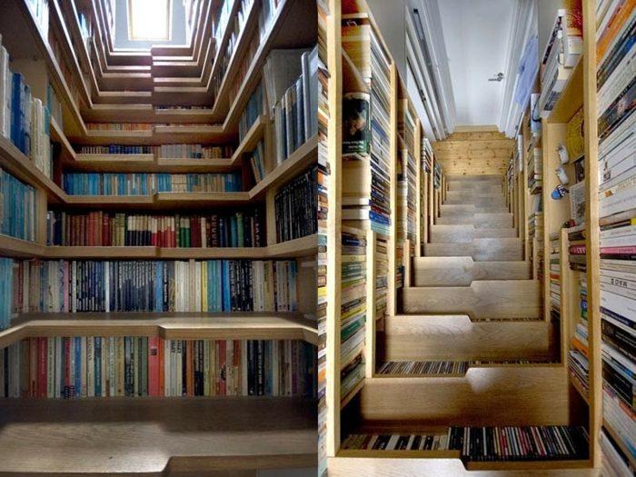 libreros estantes colores salas pared