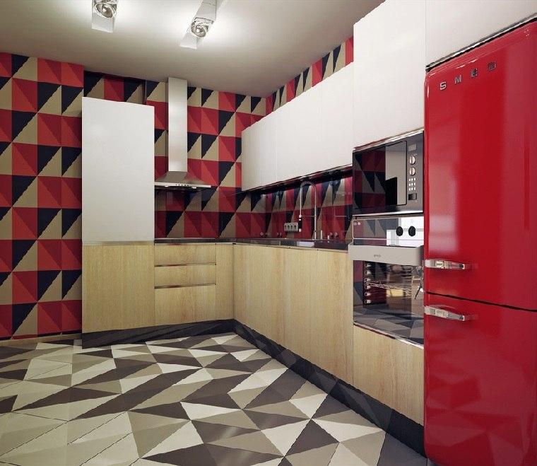 losas interesantes pared cocina acento rojo precioso ideas