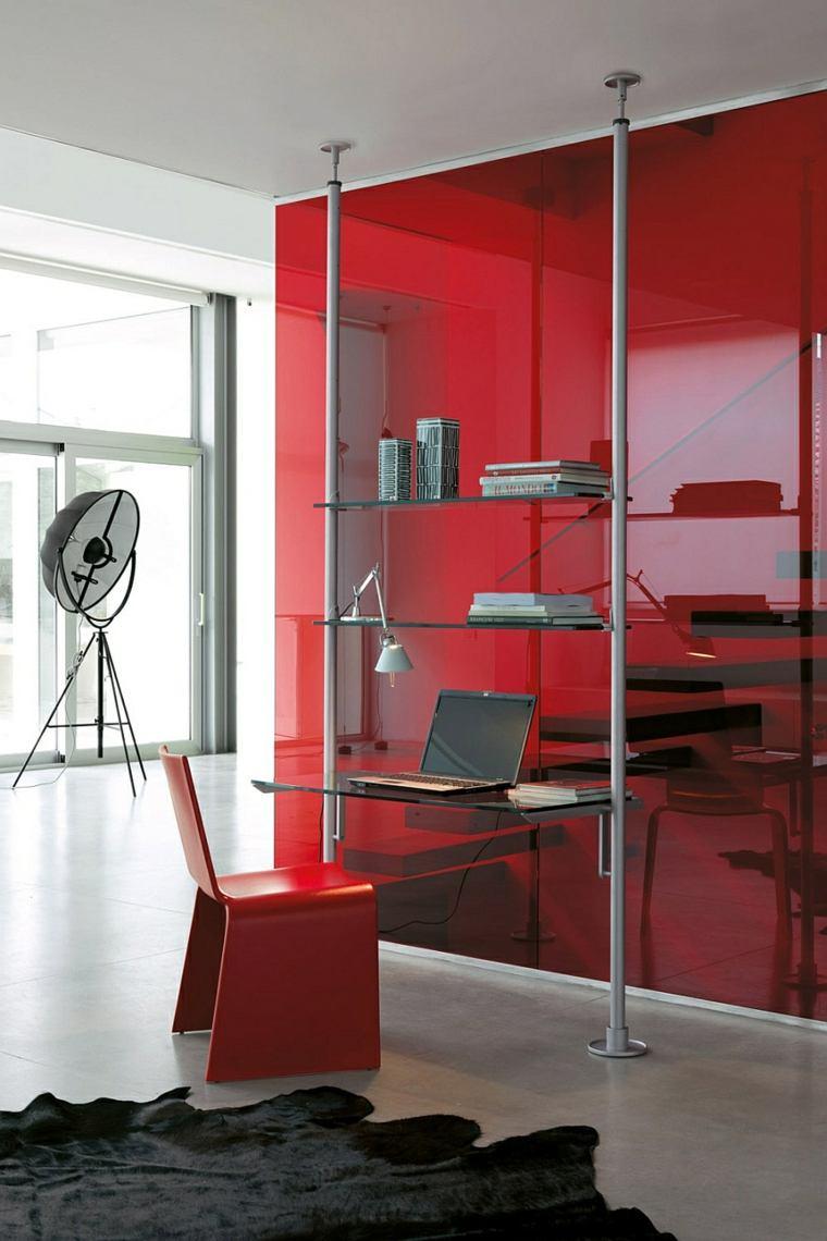 lugar trabajo casa pared silla roja ideas