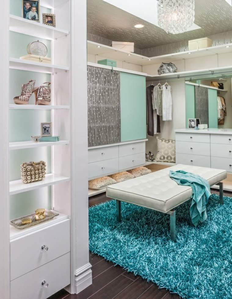 luminoso armario alfombra color turquesa ideas