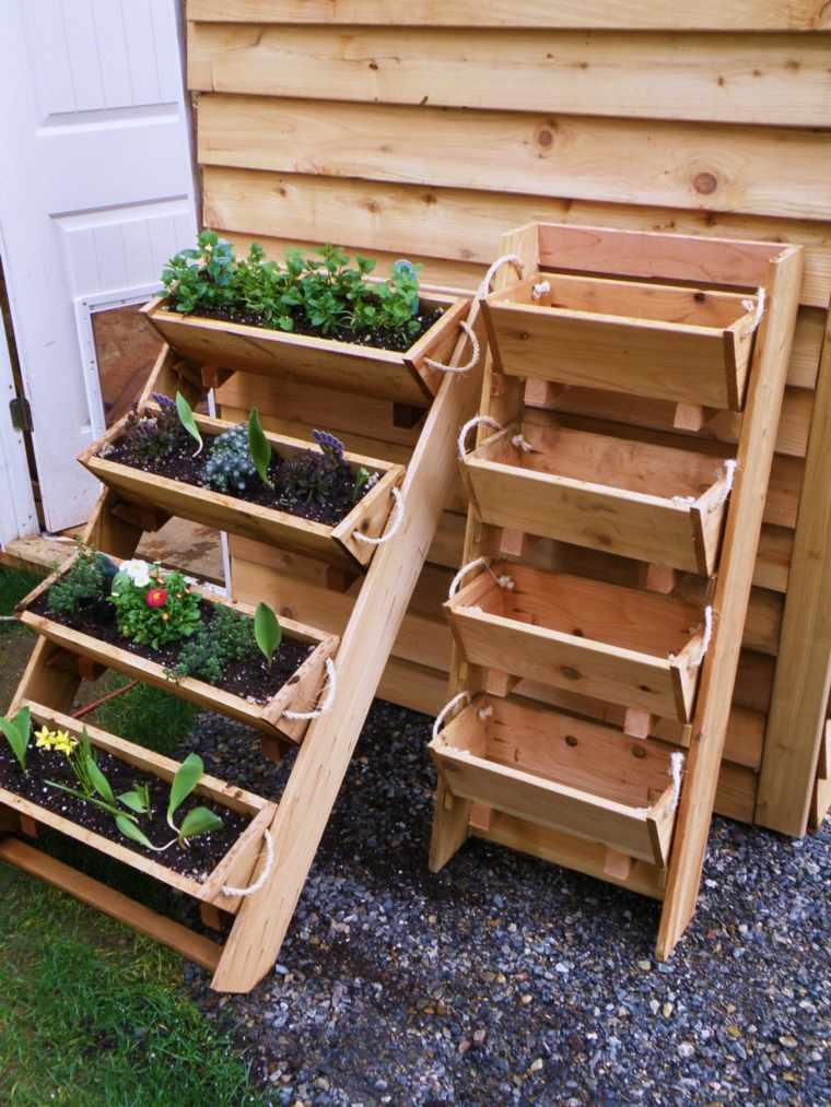 maceteros jardineras madera diseño moderno