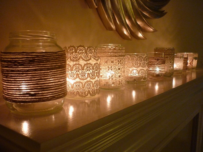 manualidades decorar tarros cristal velas ideas
