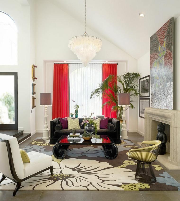 mesa cafe diseno unico cortinas rojas ideas