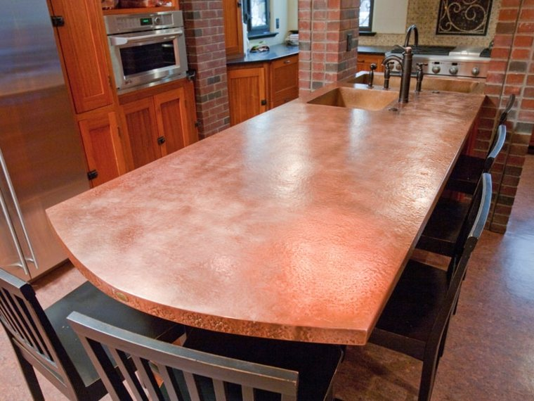 mesa cocina isla encimera cobre