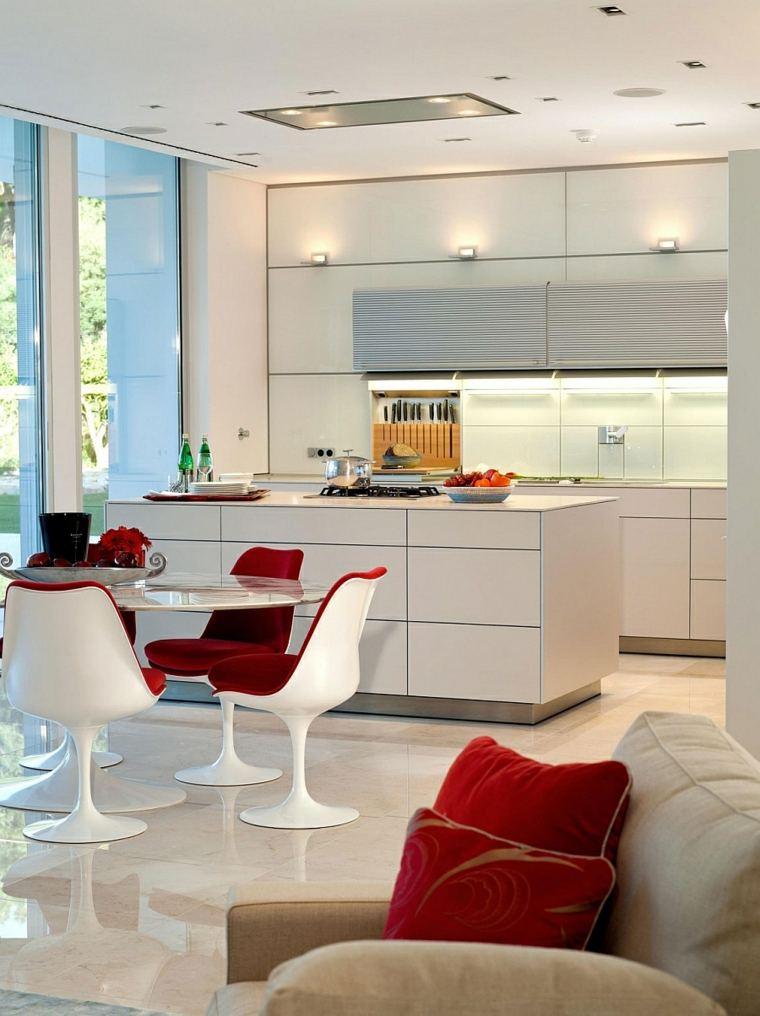mesa preciosas comedor sillas blanco rojo ideas