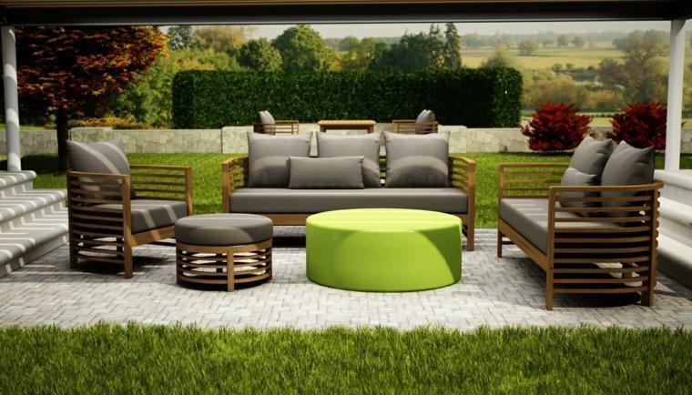 mesa verde cojines grisces taburete ideas