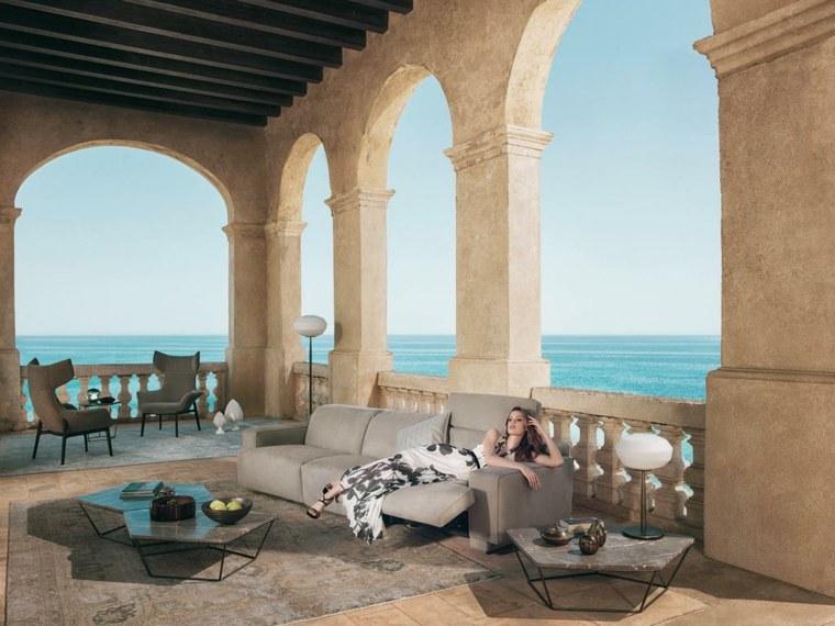 mesas preciosas terraza columnas ideas