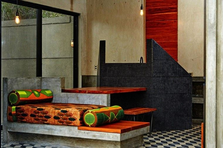 mexico casa diseno banco cojines pared mosaico ideas