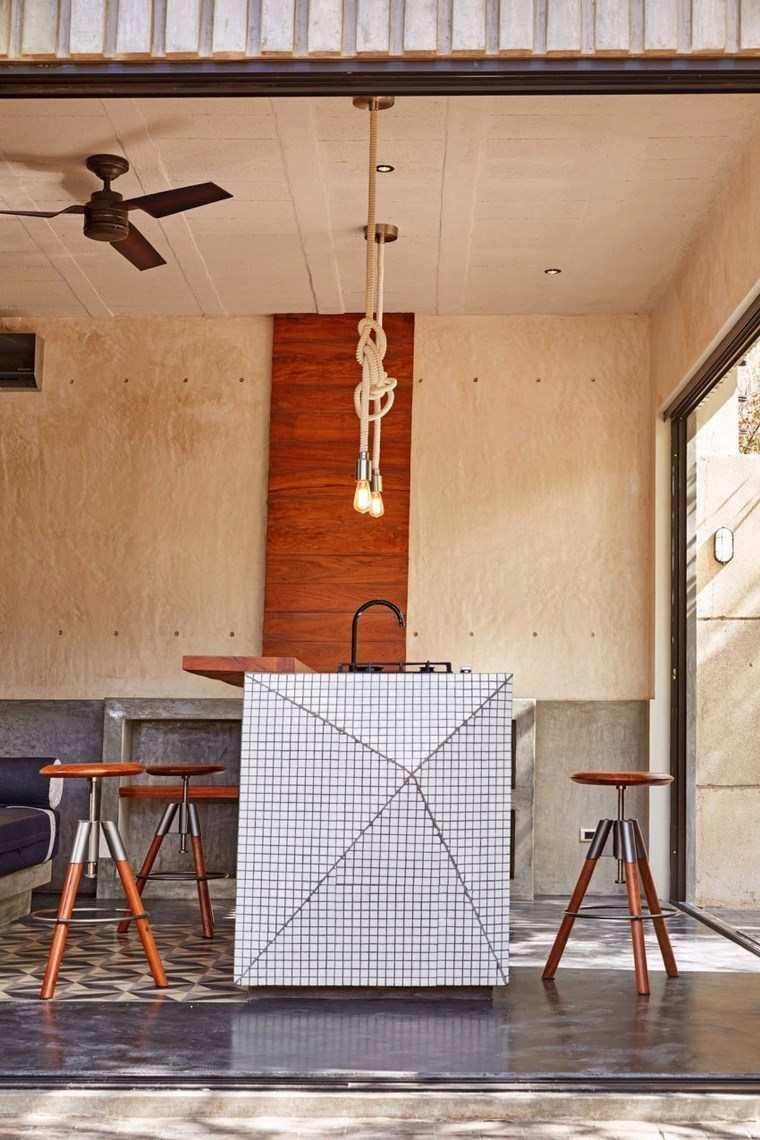 mexico casa diseno cocina isla taburetes ideas