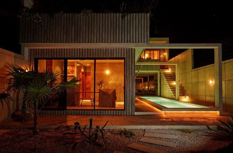 mexico casa diseno iluminada noche ideas