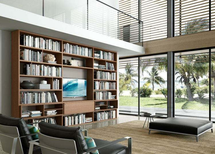Muebles tv integrados con biblioteca 75 ideas modernas for Diseno de salones de casas modernas