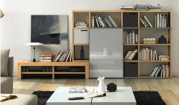 mueble biblioteca salon moderno