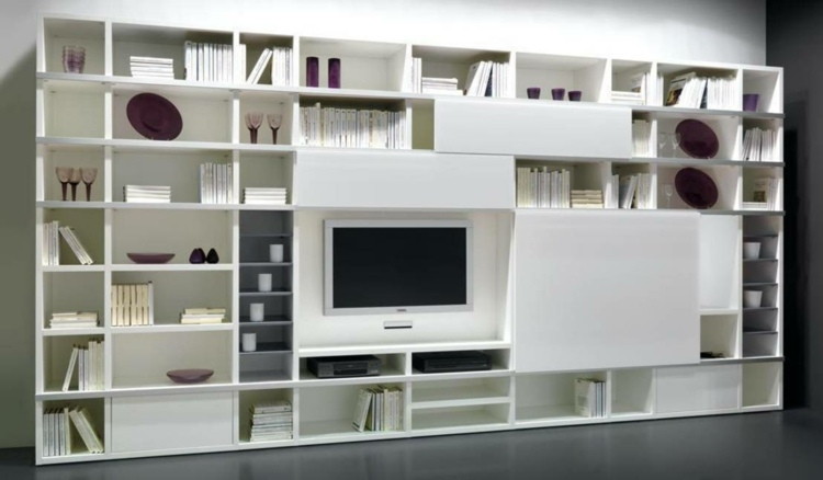 Muebles tv integrados con biblioteca 75 ideas modernas for Muebles modulares modernos para tv