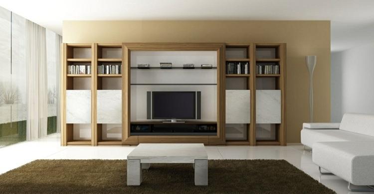 mueble estantes madera moderno salon