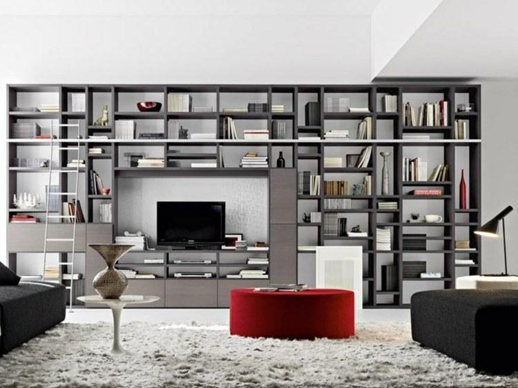 mueble salón negro estantes salon