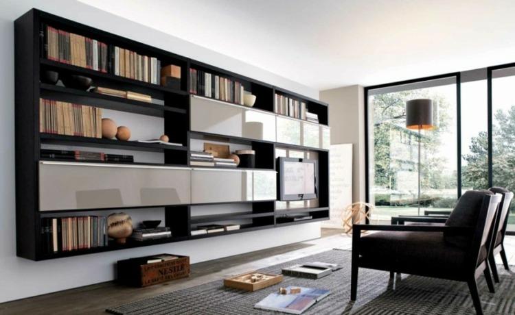 mueble color negro estantes tv