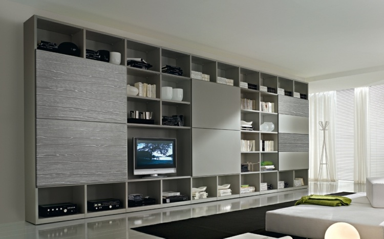 Muebles tv integrados con biblioteca 75 ideas modernas - Salon color gris ...