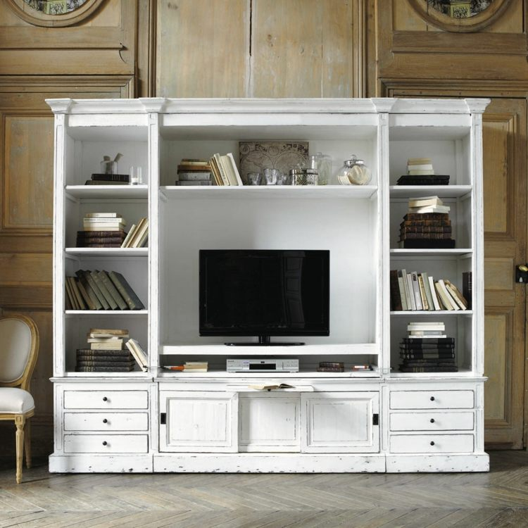 muebles tv integrados con biblioteca 75 ideas modernas. Black Bedroom Furniture Sets. Home Design Ideas