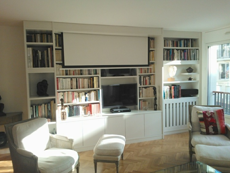 Muebles tv integrados con biblioteca 75 ideas modernas - Mueble salon tv ...