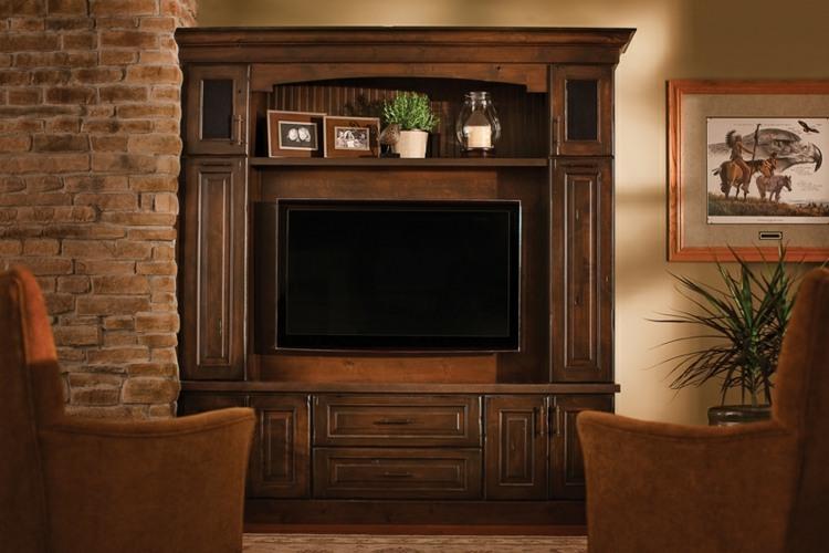 Muebles tv integrados con biblioteca 75 ideas modernas for Muebles de madera para salon