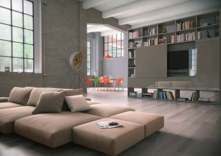 Muebles tv integrados con biblioteca 75 ideas modernas for Mueble tv habitacion