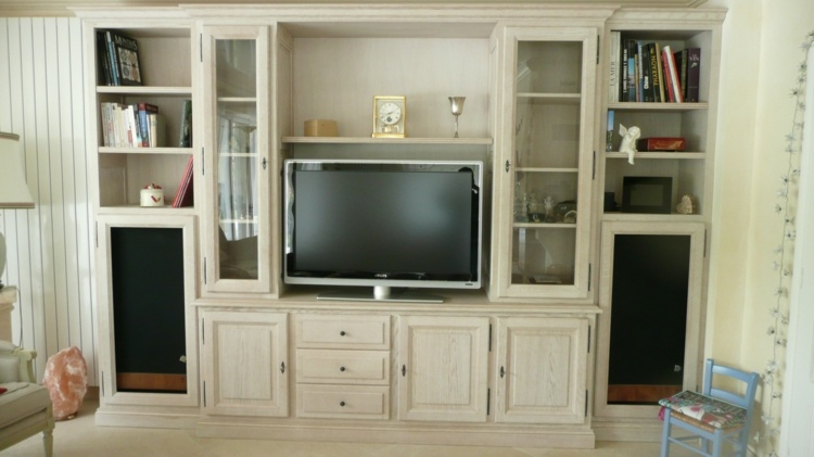 mueble TV integrado color beige